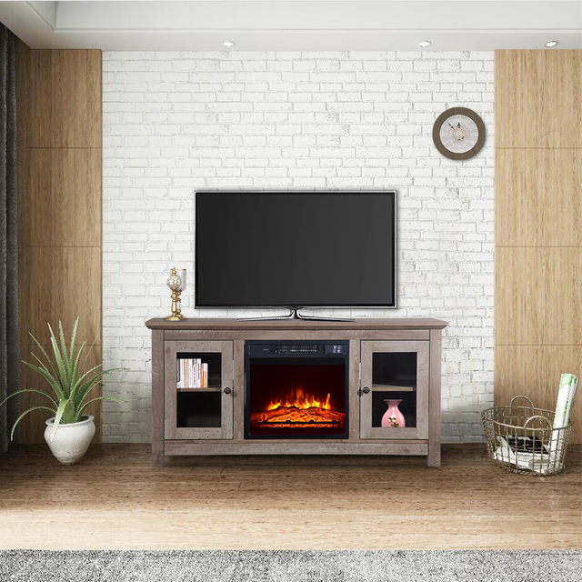 "51"" Log Cyan Fireplace TV Cabinet 5"