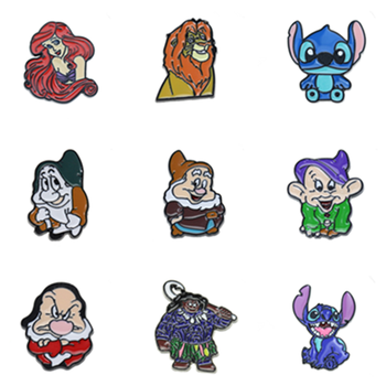 Metal Cute Cartoon Character Animal Enamel Brooch Pin for Women enamel lapel pin Hat Bag Jeans Pins Backpack Jewelry Gift Friend sitaicery white cartoon smile teeth enamel brooches pin for nurse dentist hospital lapel pin hat bag pins shirt women brooch