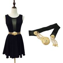 Fashion Women Lady Elastic Wide Belt Gold Metal Chain Waist Straps