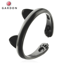 2021 Super Cute Cartoon Cat Claw Footprint Ring  Ear Zinc alloy Ring Animal Cat Ear Personality Opening Ring The best lucky gift
