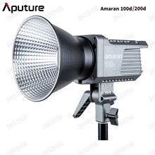 Aputure amaran 100d 200d 5600k led luz de vídeo cri95 + tlci96 bluetooth app controle 8 efeitos de iluminação dc/ac fonte de alimentação