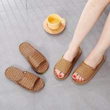 Шлепанцы мужские/женские из бамбукового плетения, Нескользящие сандалии, соломенный коврик, модная домашняя обувь, деревянные тапки для по...