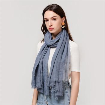 2020 cotton Scarf Crinkle Women Soft Solid muslim Hijabs Muffler Shawls Pashmina Wrap Hijab Scarves Headscarf Turban shawls wrap 8