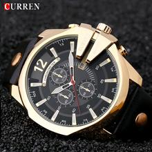 CURREN moda duża tarcza zegarek kwarcowy mężczyźni popularny skórzany pasek Retro metalowe męskie zegarki Casual wodoodporny męski zegar Hombre часы tanie tanio 23cm Moda casual QUARTZ NONE 3Bar Sprzączka CN (pochodzenie) STOP 16mm Hardlex Kwarcowe zegarki Papier Skórzane 54mm