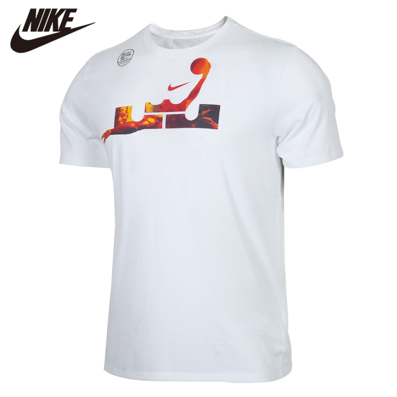 Original <font><b>NIKE</b></font> AS LBJ M NK DRY TEE 2 White Men's <font><b>Tshirt</b></font> Shirts New Arrival image