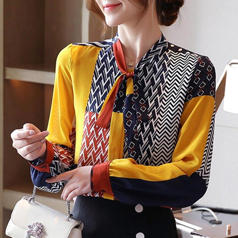 Fashion Print Blouses Women Bow Silk Shirts 2021 Autumn Long Sleeve Shirt Women Harajuku Shirts Blusas Mujer De Moda 10739 3