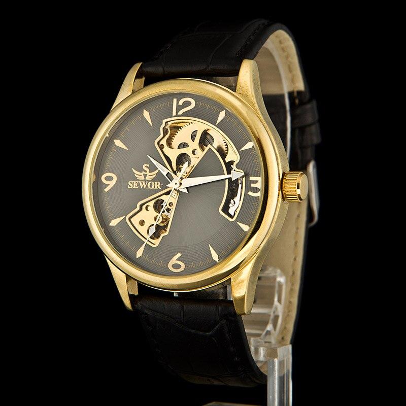 SEWOR Men's Mechanical Steampunk Skeleton Hand Wind Watch Mens Dress Watch Men Sport Watch Gold Watch Relogio Masculino