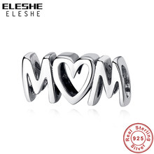 ELESHE Authentic 925 Sterling Silver Bead MOM Letter Love Charm fit Original Bracelet & Necklace DIY Jewelry Mother Gift(China)