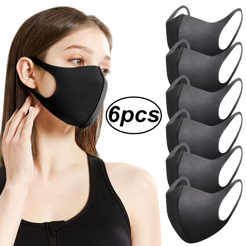 6PCS/LOT 3D Fashion Black Mask Washable Elastic Earloop Face Breathing Mask Reusable Anti Dust Cotton Mouth Mask For Adults