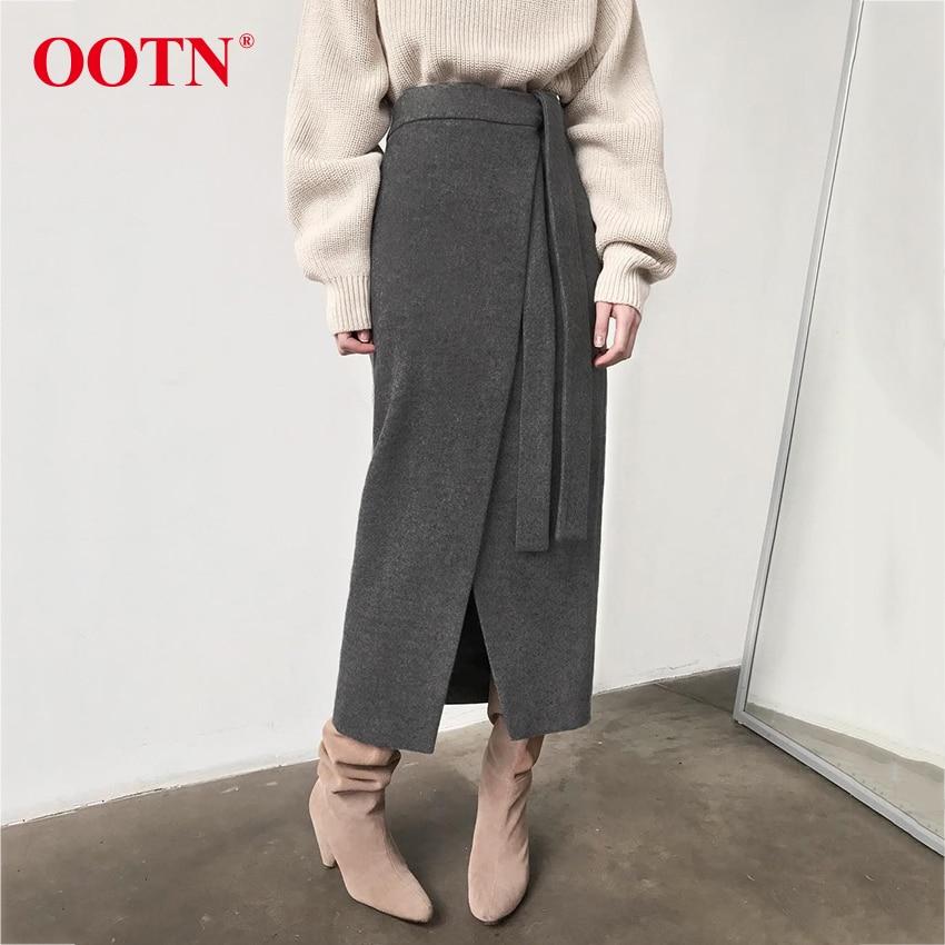 Image 2 - Ootn vintage marrom assimetria envoltório saia outono inverno camurça midi saias de cintura alta feminino saia longa escritório caqui 2019 modaSaias   -