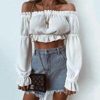 Fashion Sexy Off Shoulder Short Crop