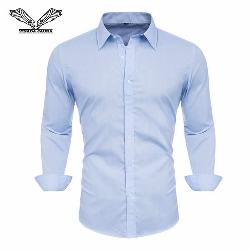 4XL 5XL 6XL 7XL 8XL Ukuran Besar Pria Bisnis Kasual Lengan Panjang Kemeja Putih Biru Hitam Smart Pria Sosial gaun Kemeja