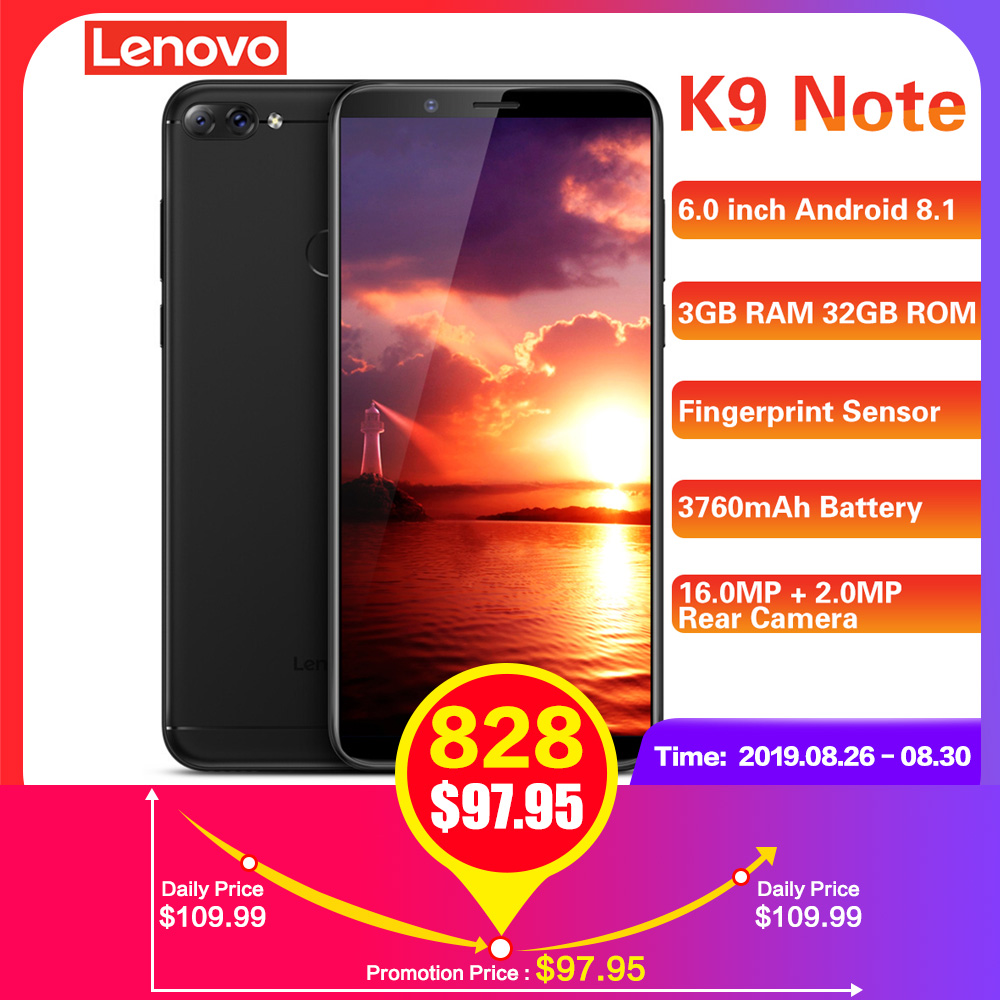 Lenovo K9 Note 4G Smartphone 6.0 ''18:9 Android 8.1 Qualcomm Snapdragon 450 Octa Core 1.8GHz 3GB RAM 32GB ROM 16.0MP AI Mobile