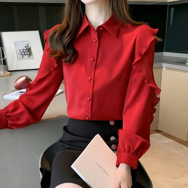 Korean Women Blouses Women Chiffon Blouse Shirts Woman Lantern Sleeve Shirt Woman Ruffles Blouse Office Lady Red Shirt Plus Size 3