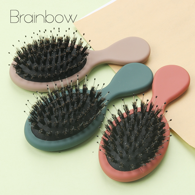 Brainbow 1PC Small Hair Brush Bristle Nylon New Salon Detangling Hair Comb For Child Wet Dry Bristles Handle Detangling Comb