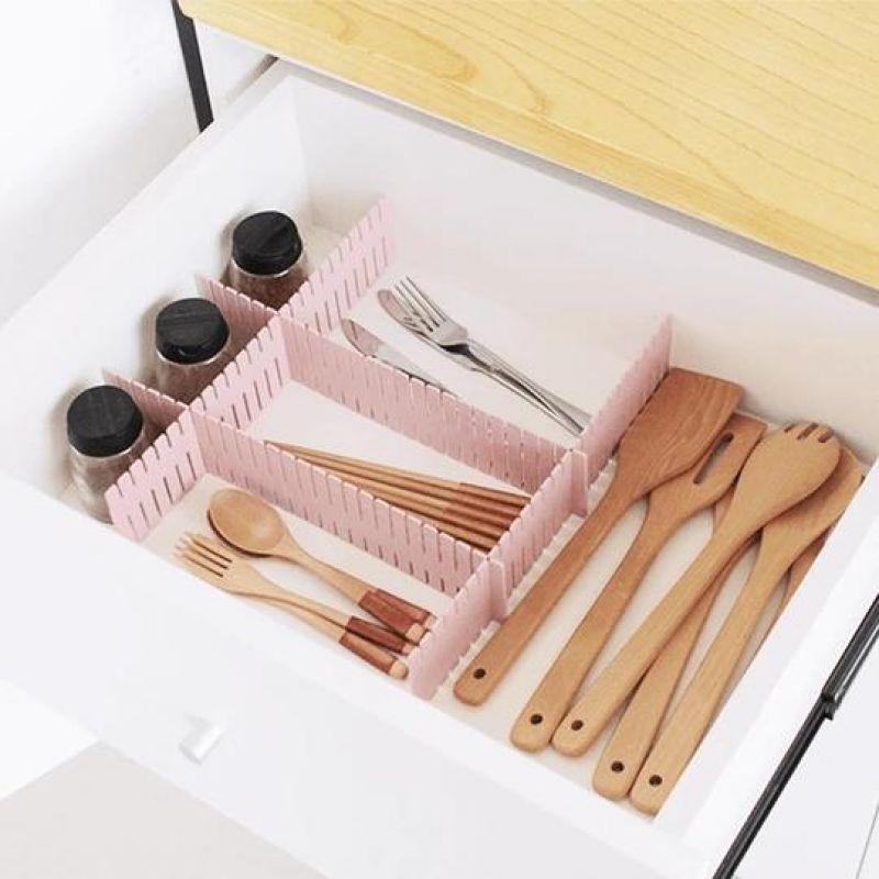 Diviseur de bloc ajustable pour vêtements et chaussettes 4 pièces planche en plastique tiroir pour articles divers bricolage, finition et rangement, Partition
