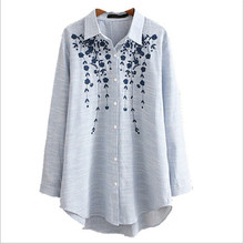 White Shirt Blouses Long-Cotton XXXXL Embroidery Spring Blusas Long-Sleeve Loose Bigger-Size