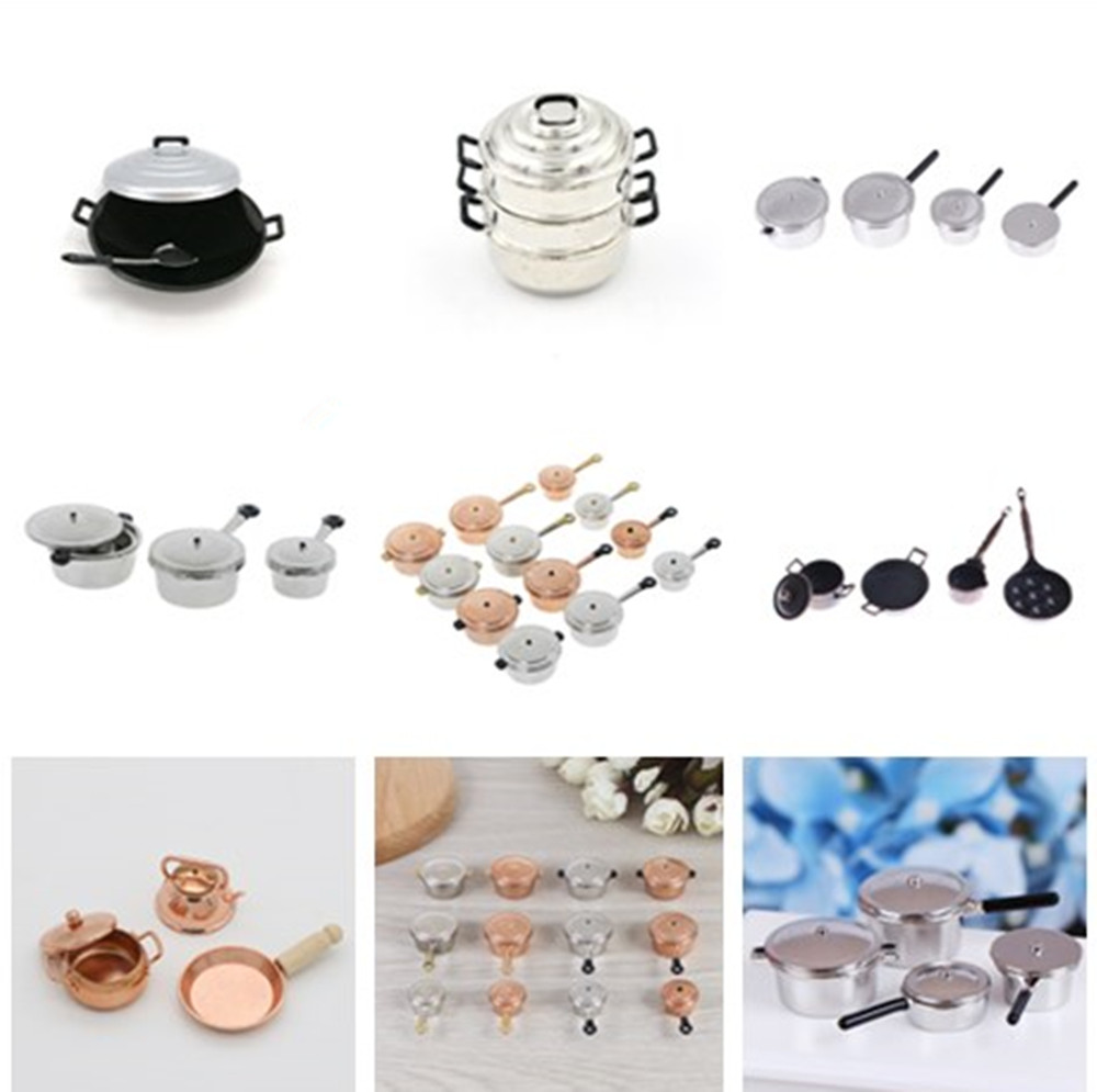 Multi Styles Frying Pan Cooking Pot Kettle Cookware Cooking Micro Steamer Kitchen Utensils Toy 1/12 Scale Dollhouse Miniature