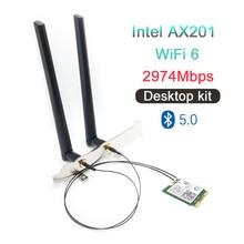 2974Mbps Bluetooth 5.0 kablosuz AX201NGW Wifi masaüstü kiti IPEX MHF4 U.FL anten NGFF/M.2 CNVIo2 Intel AX201 ağ kartı