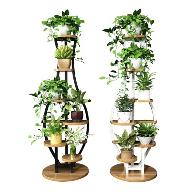 Living Room Household Flower Shelf Multi-storey Indoor Special Balcony Iron Art Circular Shelf Decoration Green Lotus Pendant Or