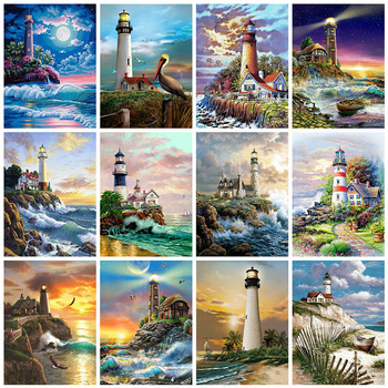 Diamond Embroidery Lighthouse 5D Full Square Diamond Painting Cross Stitch Landscape Rhinestone Pictures Home Décor 1