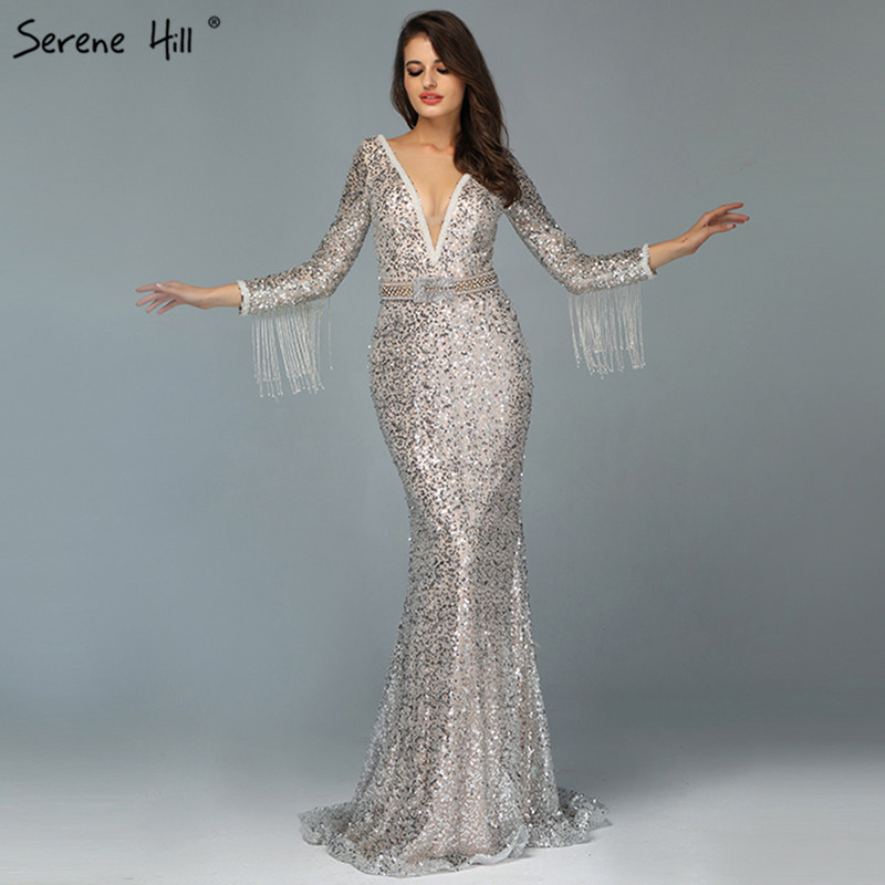 Dubai Silver V-Neck Tassel Beading   Evening     Dresses   2019 Long Sleeve Luxury Sexy   Evening   Gowns Serene Hill LA60770