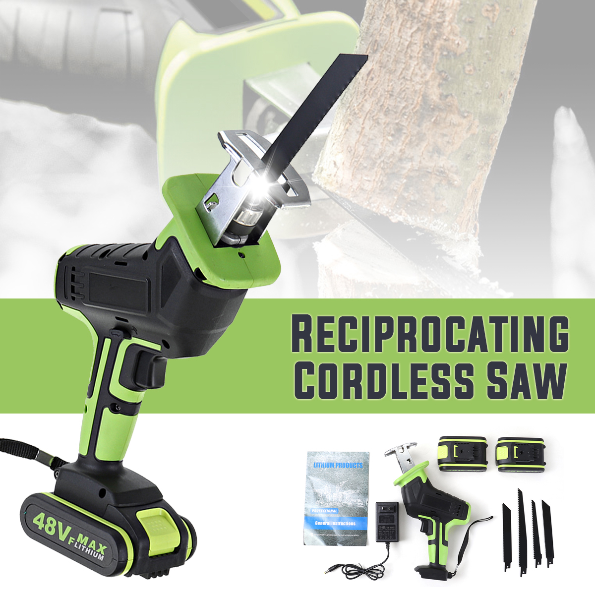 Drillpro 48V Cordless Reciprocating Saw   4 Saw Blades Metal Cutting Wood Tool Portable Woodworking Cutters with 1 2 Batterys