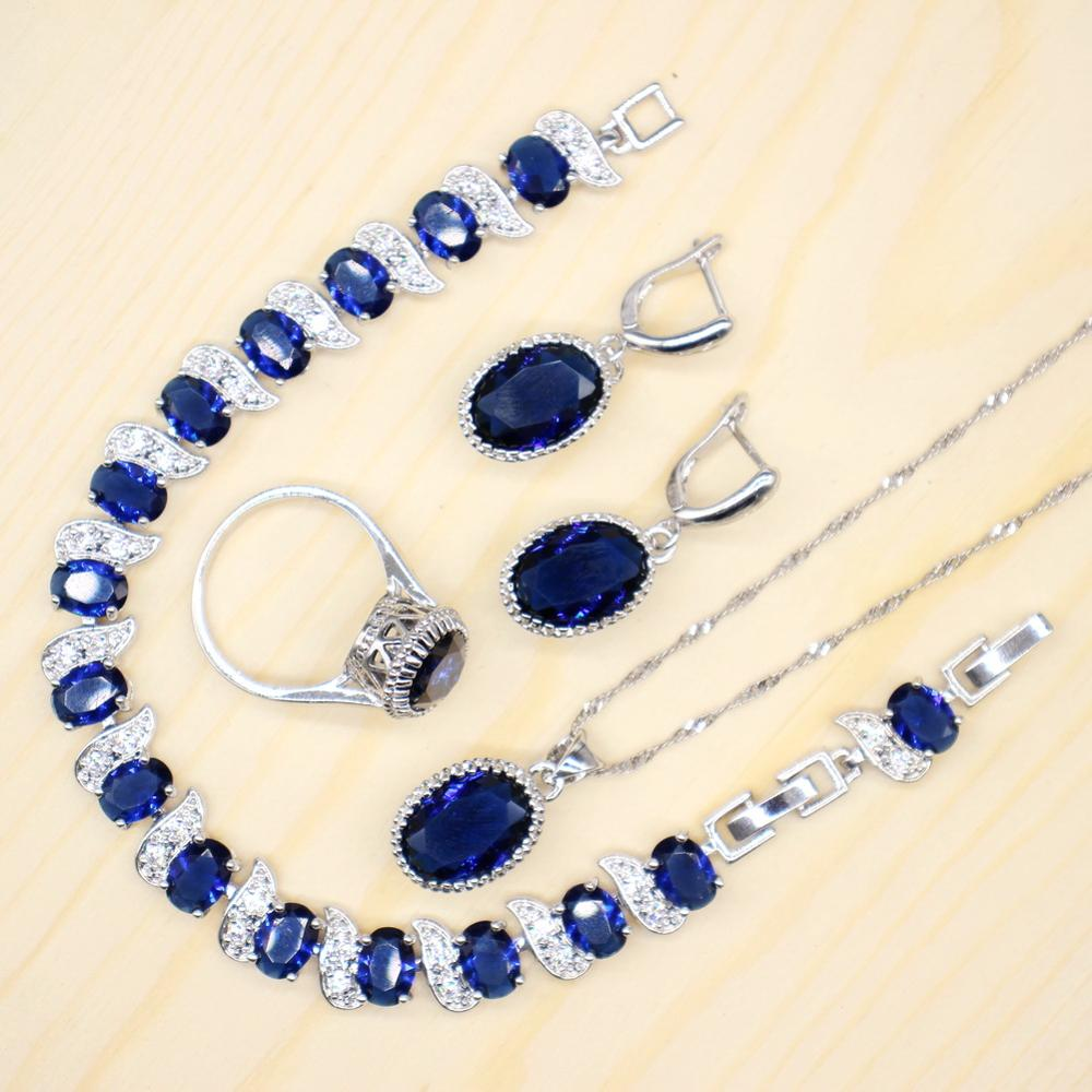 GZJY champagne and blue women wedding and bridal party jewelry sets vintage rings earring necklace bracelet sets jewelry(China)