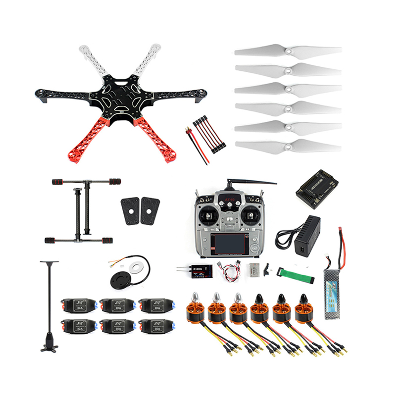 DIY 6-Axle RC Aircraft Hexacopter RTF Drone with AT10 TX/<font><b>RX</b></font> <font><b>550</b></font> Frame GPS APM2.8 Flight Controller Battery image