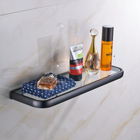 Oil Rubbed Bronze Bathroom Glass Commodity Shelf Wall Mounted Strong Shelf