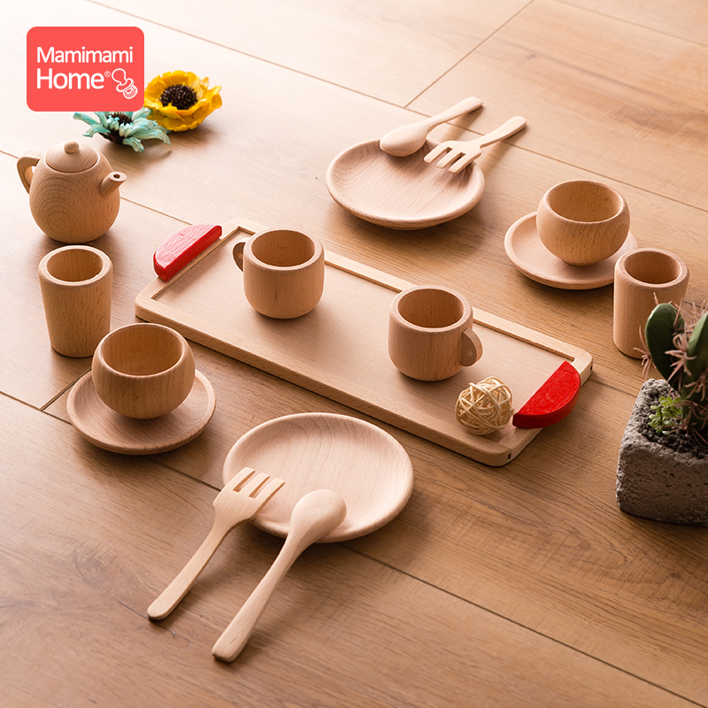 Baby Wooden Montessori Toy Beech Wooden Simulation Kitchen Tableware Tea Pot Tea Cups Children'S Goods Toys For Toddlers Gifts