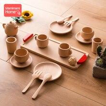 Giocattolo Montessori in legno per bambini faggio simulazione in legno stoviglie da cucina teiera tazze da tè articoli per bambini giocattoli per regali per bambini
