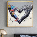 Gesture Heart Graffiti Art Canvas Painting Love Hands Wall Art Posters and Prints Cuadros Picture for Living Room Home Decor