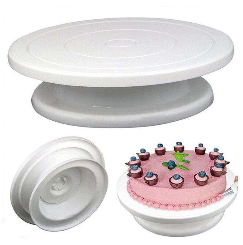 Diy 케이크 턴테이블 베이킹 실리콘 몰드 케이크 플레이트 회전 라운드 케이크 장식 도구 로타리 테이블 과자 용품 케이크 스탠드