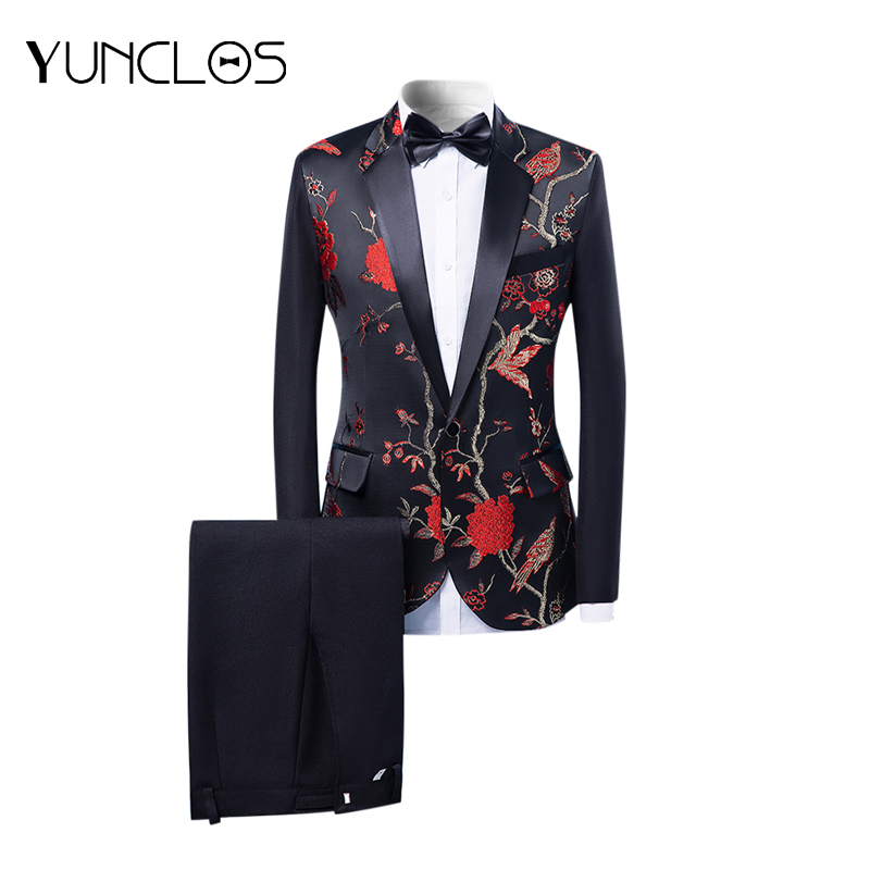 Men's Slim Suit Flower Print Coat Emcee Costume Two-Piece Set (Jacket+Pant) Single-breasted With  One Button Graceful Style
