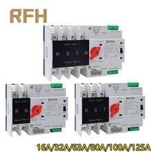 Carril Din W2R-2P/3P/4P 16A 32A 63A 80A 100A 125A 220V Interruptor de Transferencia Automática eléctrico interruptores selectores interruptor de alimentación Doble