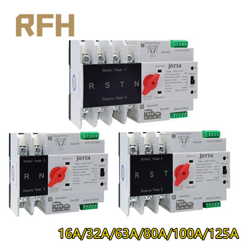 Din Rail W2R-2P/3P/4P 16A 32A 63A 80A 100A 125A 220V  Automatic Transfer Switch Electrical Selector Switches Dual Power Switch free shipping geya w2r mini ats 4p automatic transfer switch controller electrical type ats max 100a 4pole
