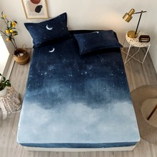 Bonenjoy 3 pcs Bed Sheet Blue Night Sky Reactive Prined Bed Sheets and Pillowcase drap de lit Sheet on Elastic