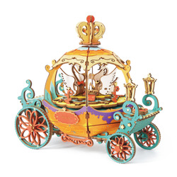 ROBOTIME DIY Movable Pumpkin Cart Model 3D Assembly Hand-made Puzzle Wooden Music Box Craft Kit Christmas Gift For Friends