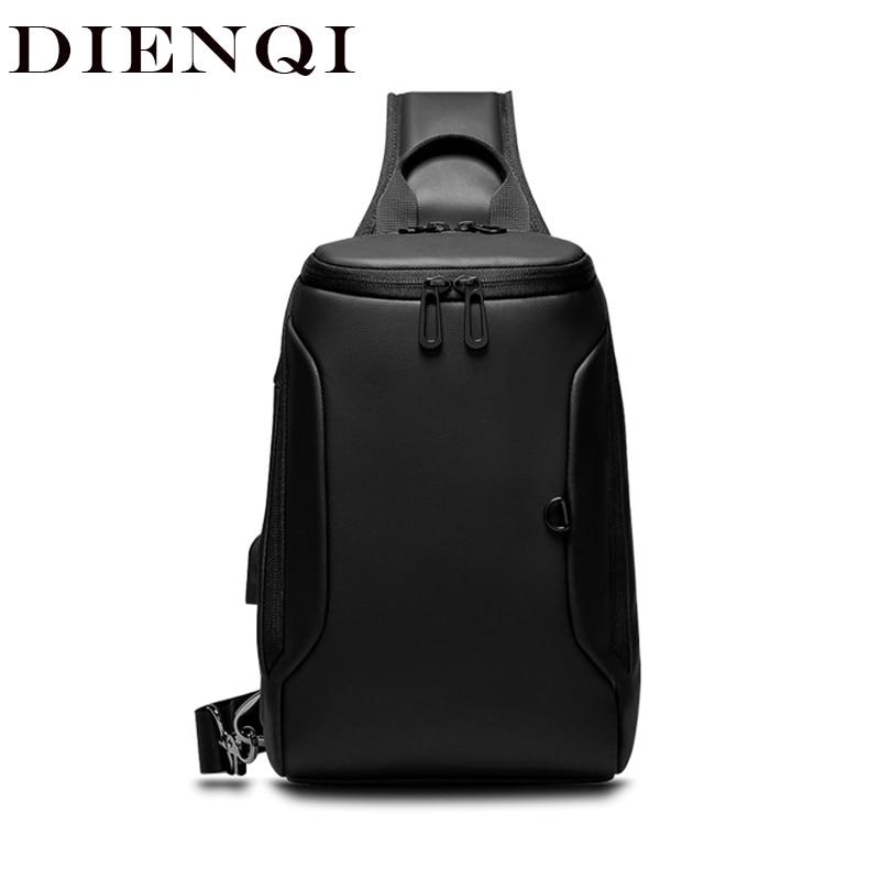 DIENQI Men Anti-theft Crossbody Bags Male Waterproof USB Charging Chest Pack Short Trip Messenger Sling Bag Shoulder Chest Bag