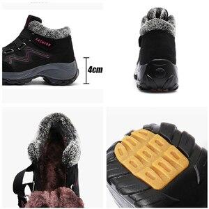 Image 5 - STQ 2020 חורף נשים שלג מגפי נשים חם לדחוף קרסול מגפי נקבה גבוהה טריז עמיד למים מגפי גומי נעלי נעלי הליכה 6139