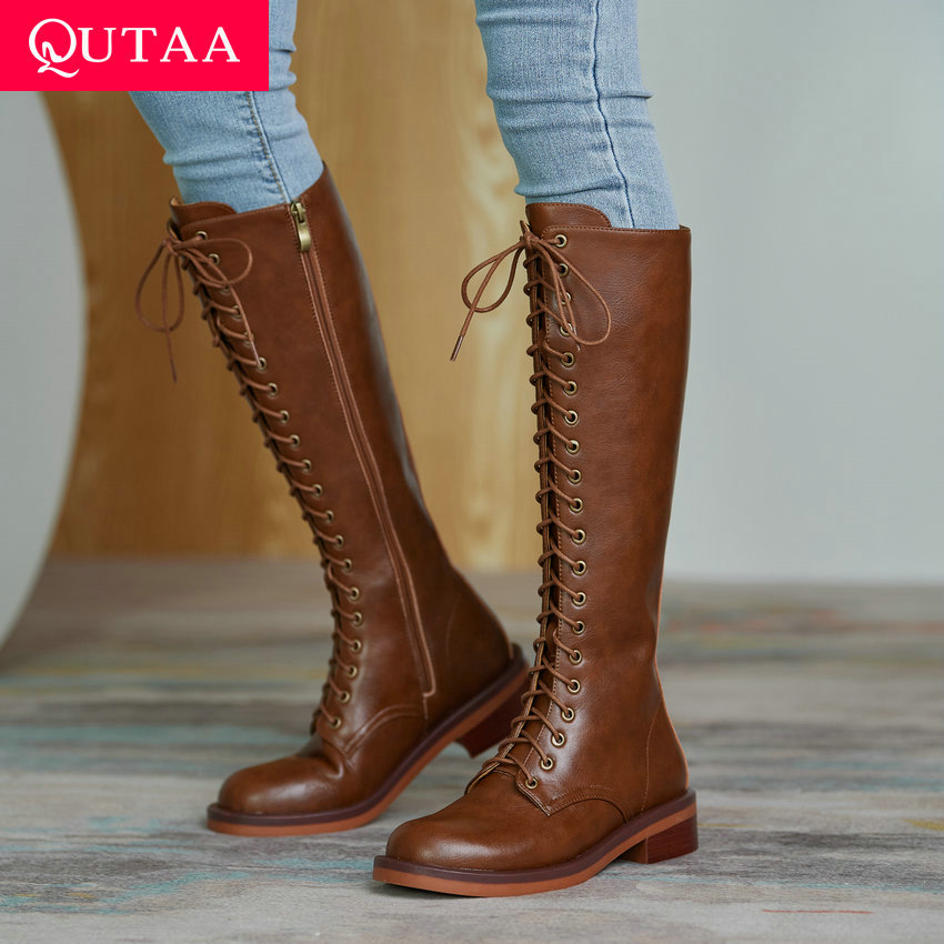 QUTAA 2021 Cow Leather Quality Knee High Boots Lace Up Zipper Winter Shoes Round Toe All Match Women Long Boots Size 34-39