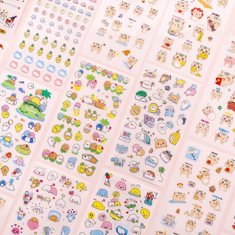 Mohamm 6 Pcs/pack Kawaii Cartoon Animal Cat Bear Small Korea Sticker Flakes Stationary Office Access