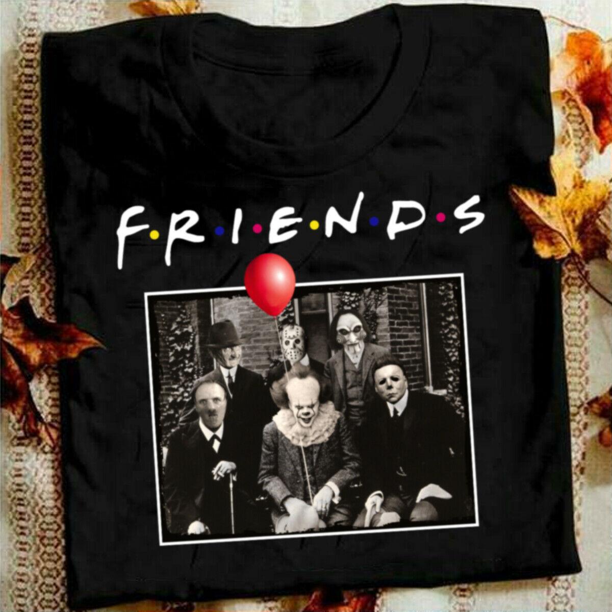 QZHIHE Horror Friends Pennywise Michael Myers Jason Voorhees Halloween Men T-Shirt Cotton Matching T-shirt