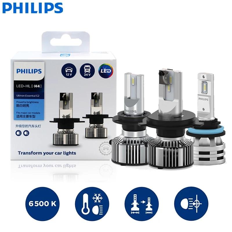 2 шт. Philips H1 H4 H7 H11 9005/9006 9012/HIR2 H8/H11/H16 19 Вт-24W 12V 6500K белый автомобиль мигающие светодиодные фары, аксессуары для автомобиля H7 Led