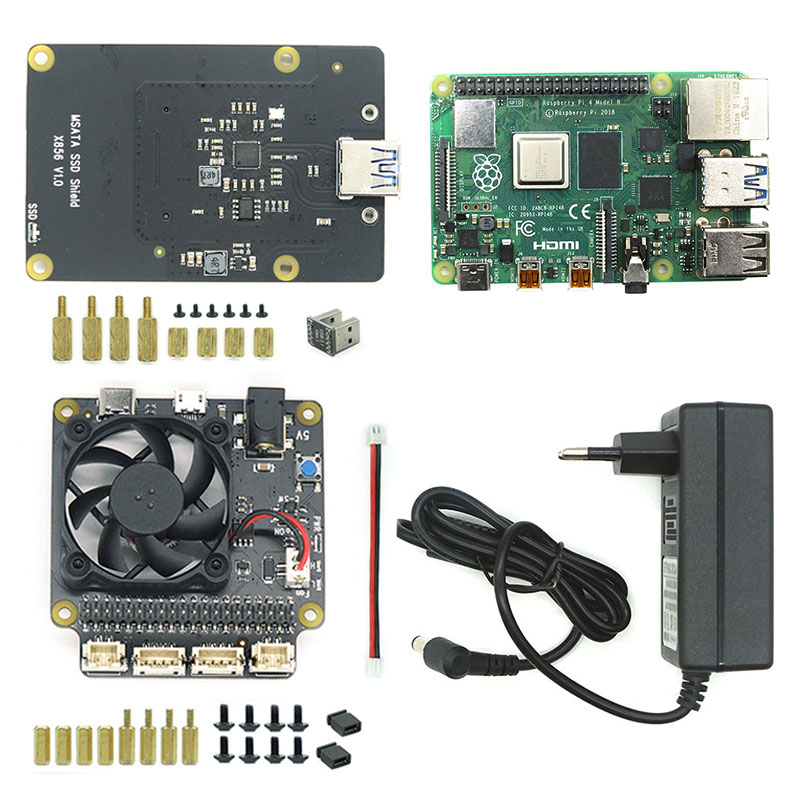 Raspberry Pi 4B+X856 V1.0 mSATA SSD Shield Expansion Board+X735 Smart power mgmt board Auto-Control cooling fan+PowerAdapter