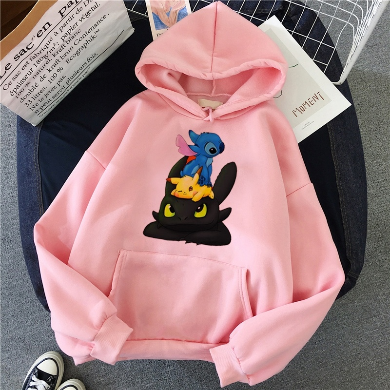 Lilo Stitch Hoodies Women Kawaii Cotton Swearshirt Female Casual Cotton Swearshirts Harajuku Women'S Clothing Autumn Winter