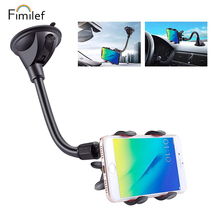 Universal Car Phone Mount Holder Long Arm Clamp Windshield with Double Clip Stro