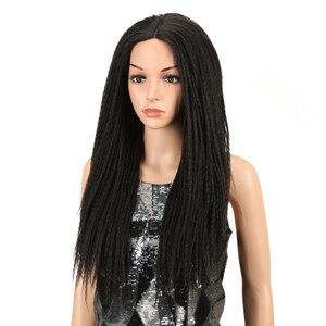Image 2 - Magic Tóc 26 Inch Tổng Hợp Phối Ren Phía Trước Bộ Tóc Giả Cho Nữ Màu Đen Móc Dây Bện Xoắn Jumbo Oai Giả Locs Kiểu Tóc Dài tóc