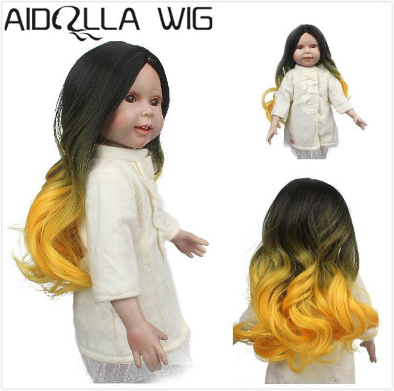 Aidolla кукольный парик, желтый черный длинные волнистые кудрявые Жаростойкие кукольные парики для 18 дюймовых кукол